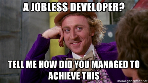 Jobless developer meme