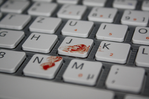 The commits of death: keyboards in blood